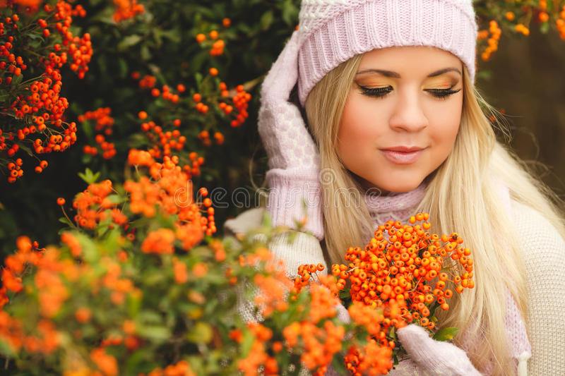 Beautiful woman in autumn Park royalty free stock photos