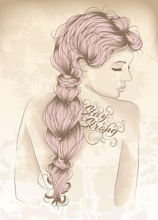 Beautiful woman with back tattoo stock photo