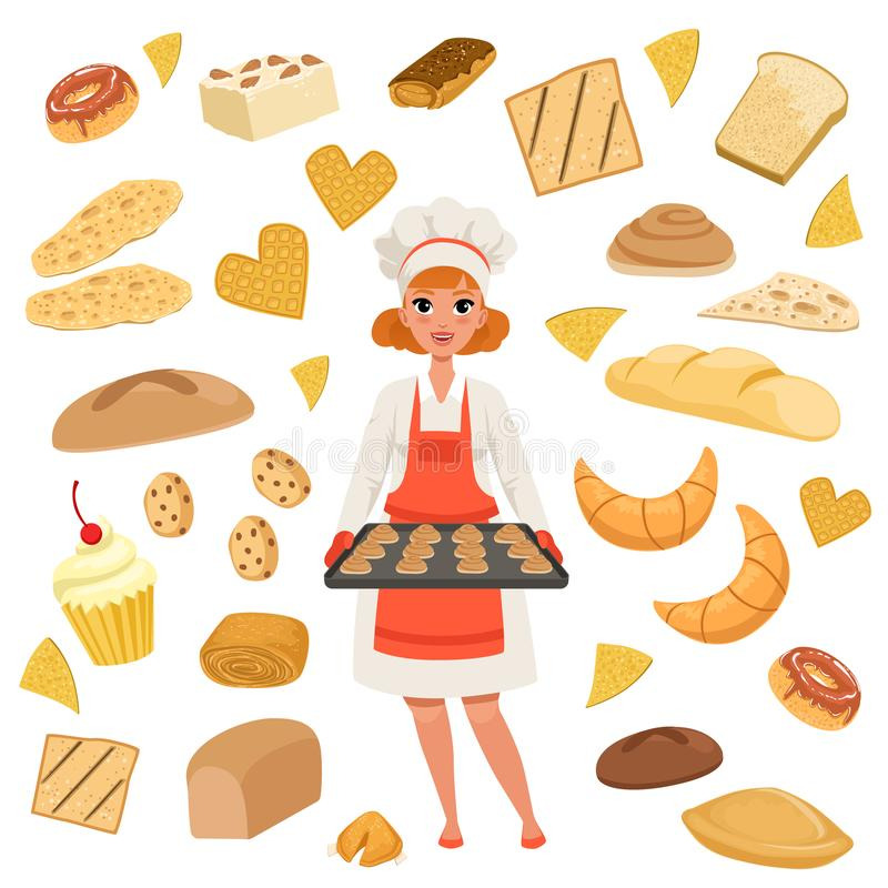 Beautiful woman baker standing with a baking tray with cookies. Cartoon female character at work. Bakery products and stock illustration