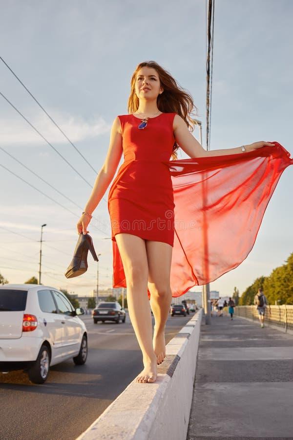 Beautiful woman barefoot royalty free stock photo