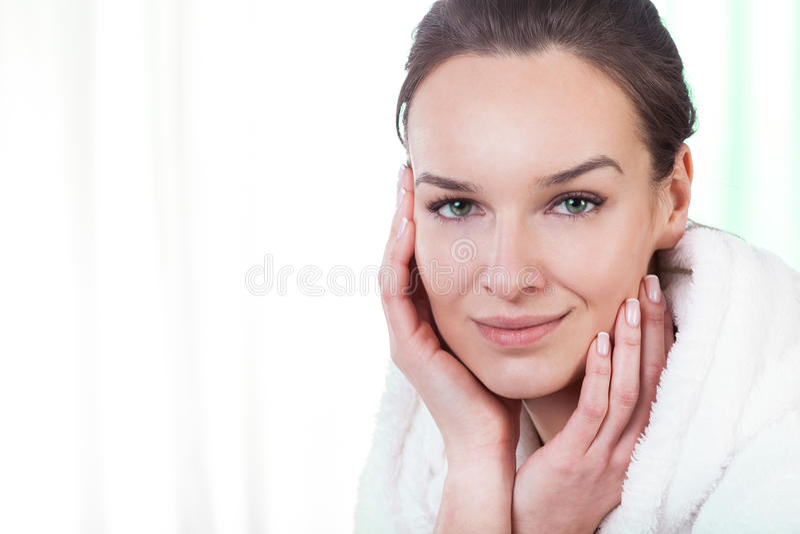 Download Beautiful Woman In Bathrobe Stock Photo - Image of peaceful, health: 39500056