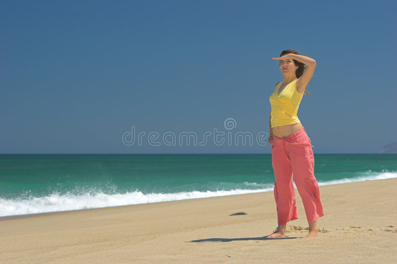 Beautiful woman in the beach royalty free stock images
