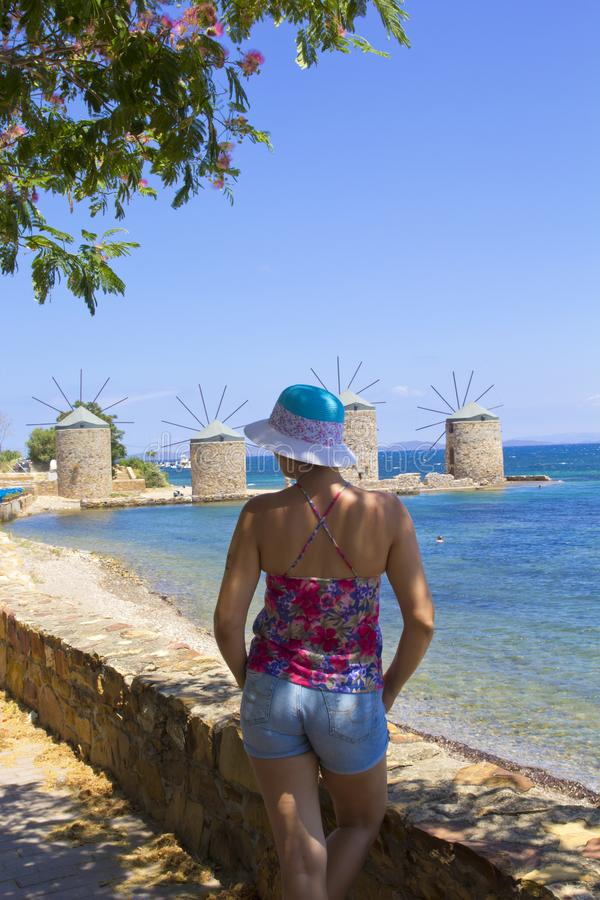 Beautiful woman on the beach in Chios Island royalty free stock photos