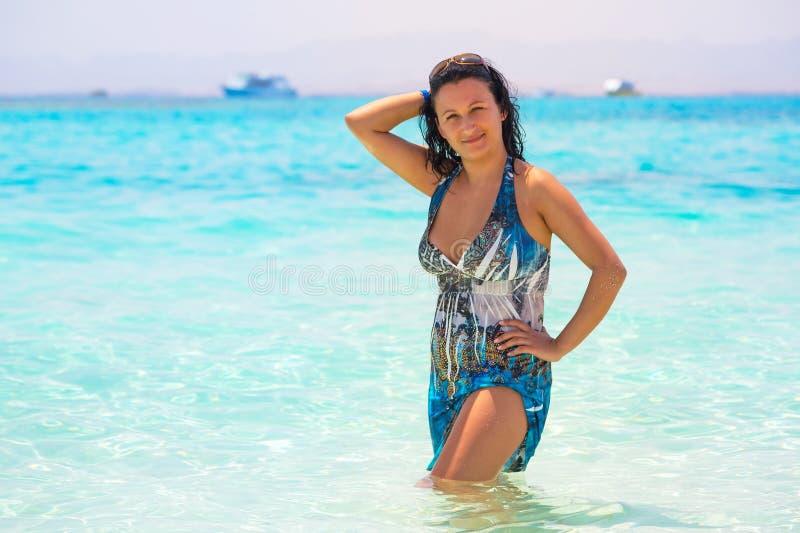 Download Beautiful Woman On The Beach Of Mahmya Island Stock Photo - Image of giftun, peaceful: 30628638