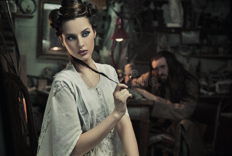 beautiful woman and the beast stock image