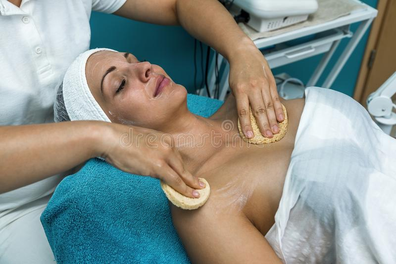 Beautiful woman at the beautician. stock photography