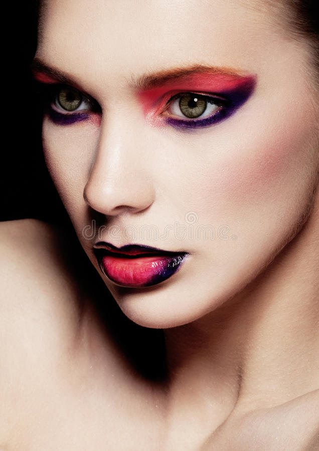 Beautiful woman beauty creative makeup fashion royalty free stock photo