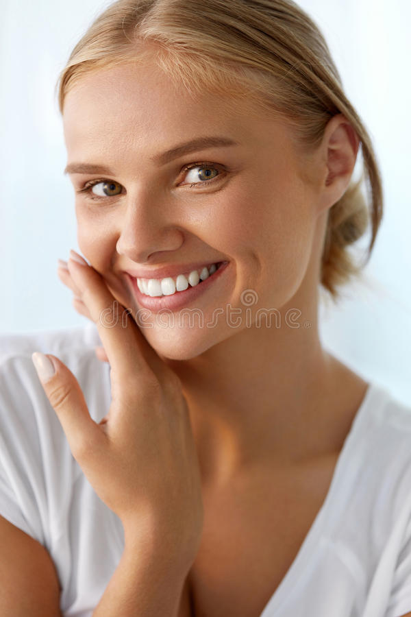 Beautiful Woman With Beauty Face, Healthy White Teeth Smiling. Beauty Woman Face. Closeup Portrait Of Beautiful Happy Girl With Perfect Smile And White Teeth royalty free stock images