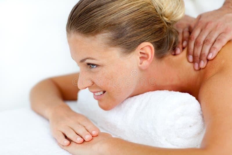 Beautiful Woman Being Massaged Stock Image