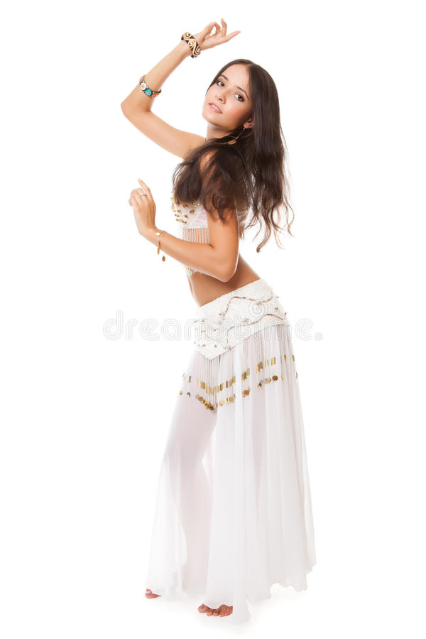 Beautiful woman in the belly dance. On white background stock photo