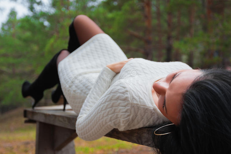 Download Beautiful Woman On Bench In Park Stock Photo - Image: 27273882