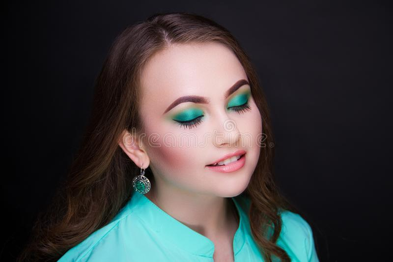 Woman green make up royalty free stock image