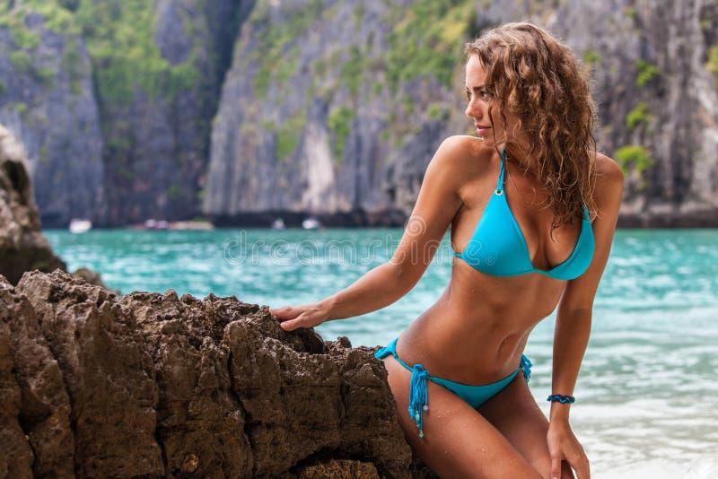 Woman in bikini on thai beach royalty free stock photos