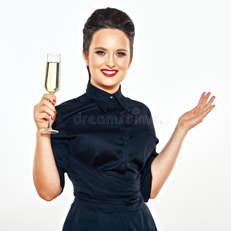 Beautiful woman in black evening dress isolated portrait with c royalty free stock photos