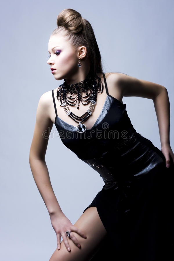 Beautiful Woman In Black Evening Gown Royalty Free Stock Photo