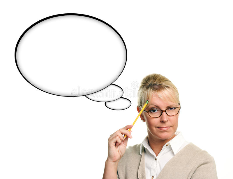 Beautiful Woman and Blank Thought Bubbles Isolated royalty free stock photo