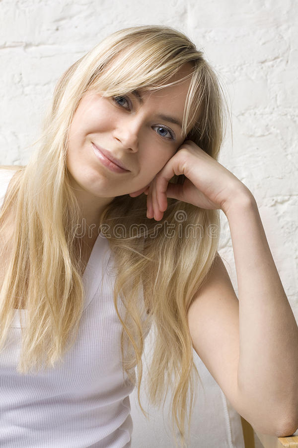 Beautiful woman with blond hair royalty free stock photos
