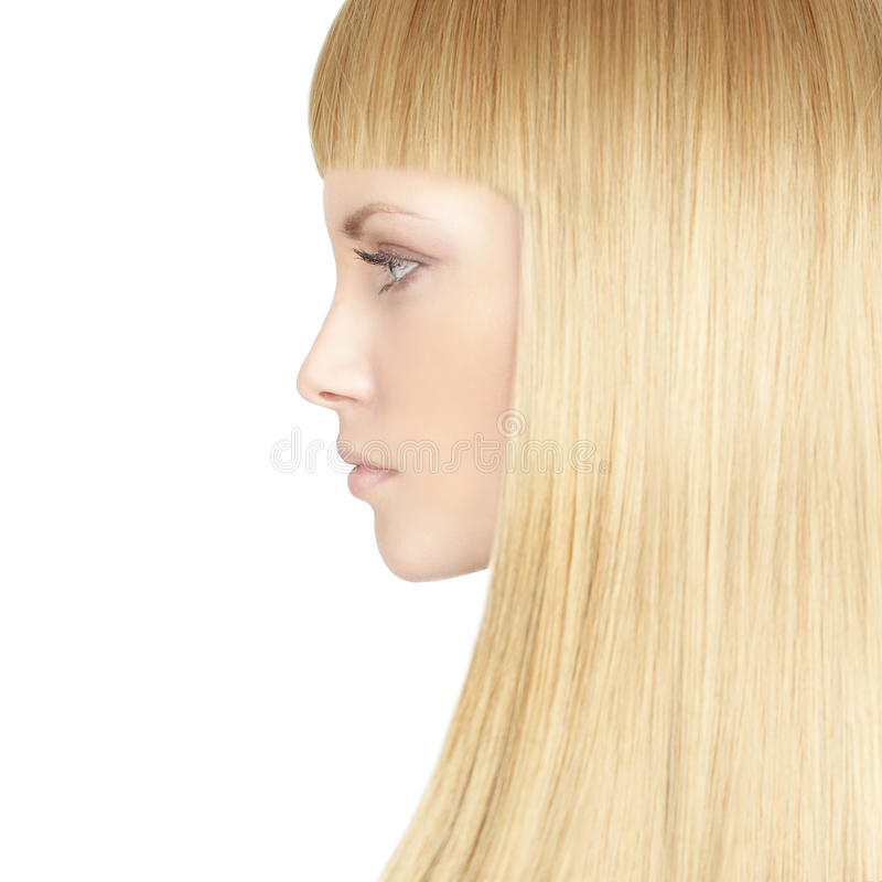 Beautiful woman with blond healthy hair royalty free stock photography