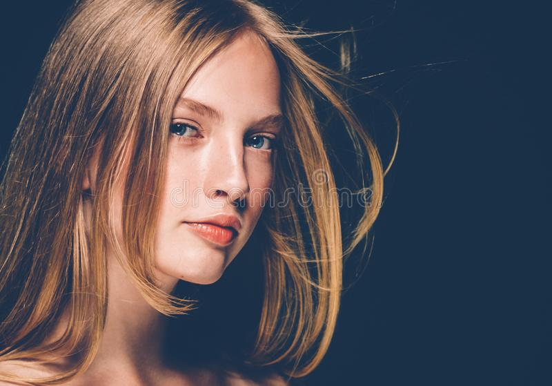 Beautiful Woman Blonde Red Lips Healthy Beauty Skin Smile. Spa B stock photos