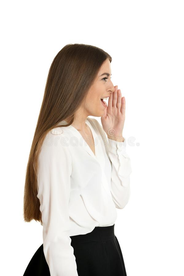 Beautiful woman in blouse scream on white background royalty free stock photos