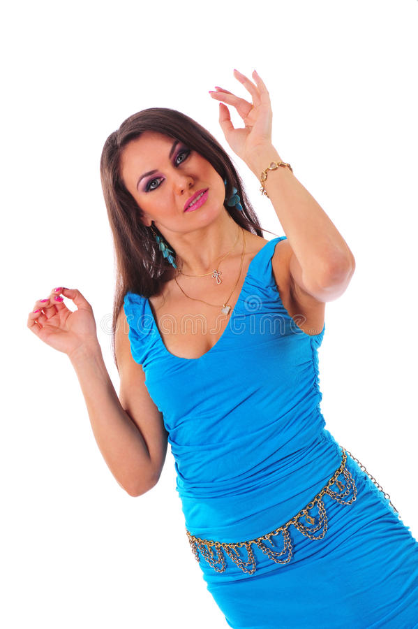 Download Beautiful Woman In Blue Dress Stock Image - Image: 16630387