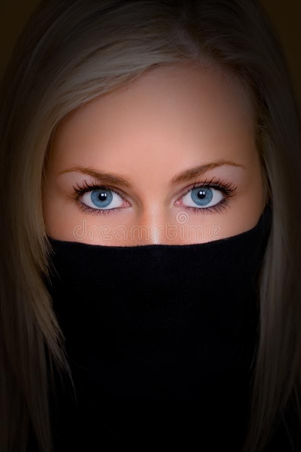 Beautiful Woman WIth Blue Eyes royalty free stock image