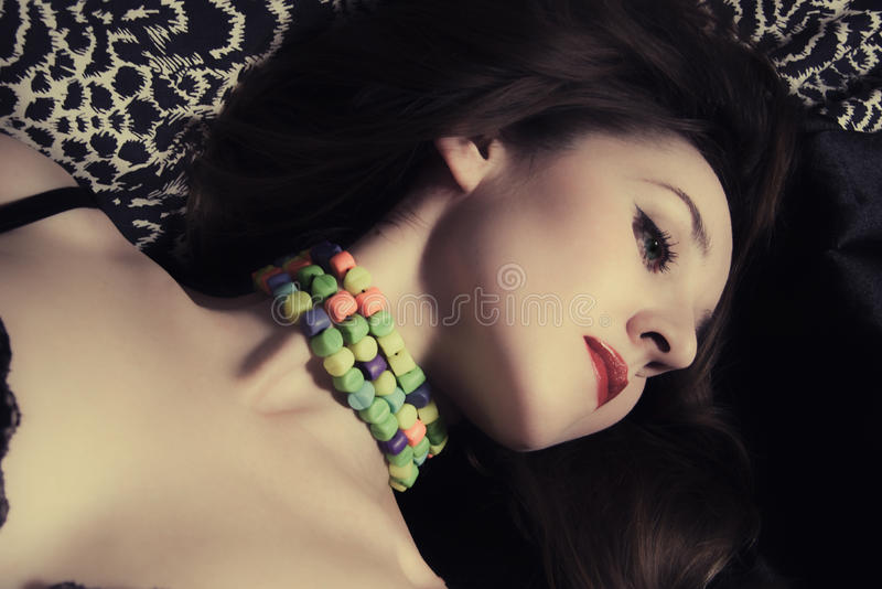 Download Beautiful Woman With Blue Eyes And Red Lips Stock Photo - Image: 12066840