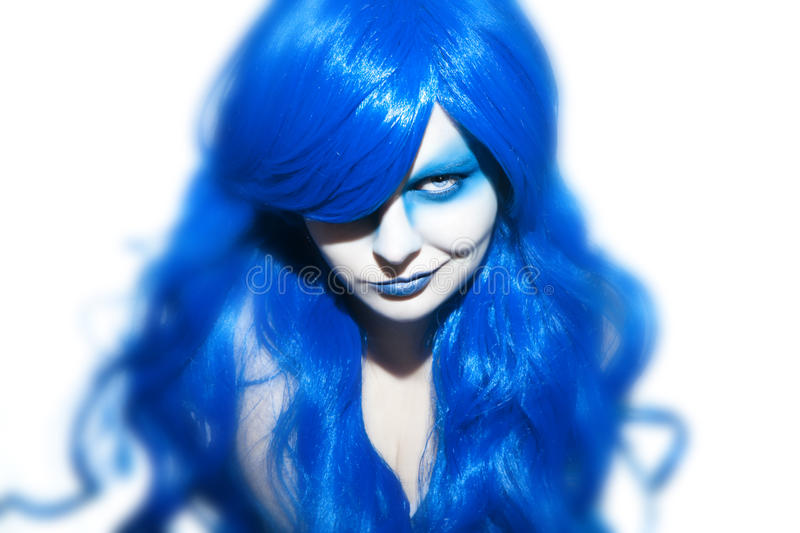 Beautiful woman with blue Hair and Make Up. Studio Shot stock photo
