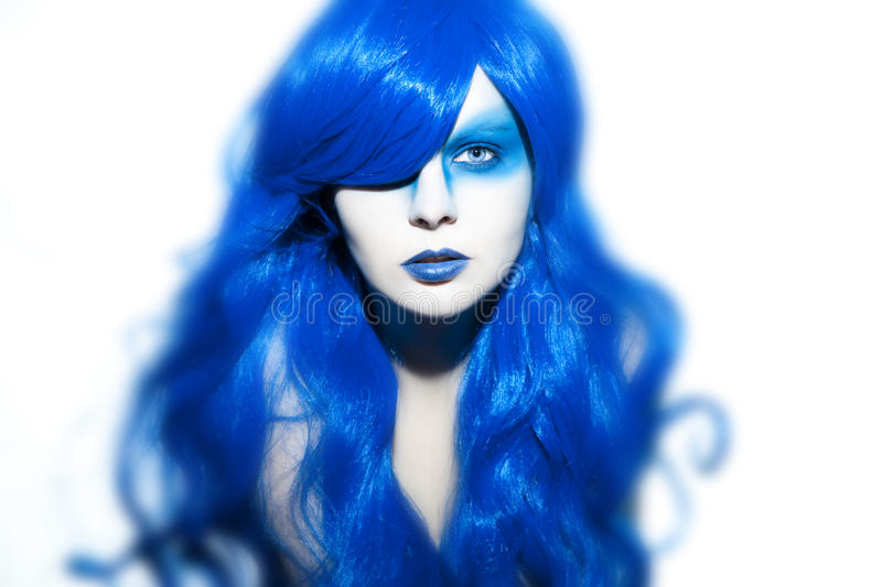 Download Beautiful Woman With Blue Hair And Make Up Stock Image - Image of long, blue: 39503171