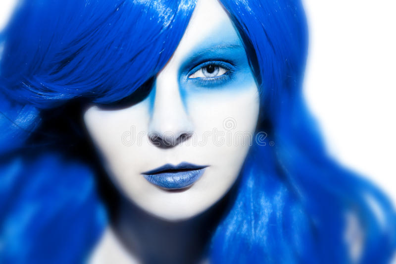 Download Beautiful Woman With Blue Hair And Make Up Stock Image - Image of health, care: 39503181