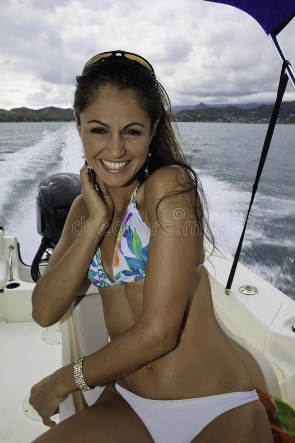 Download Beautiful woman on a boat stock image. Image of pacific - 21674141