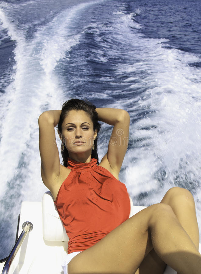 Download Beautiful woman on a boat stock image. Image of brunette - 21674185