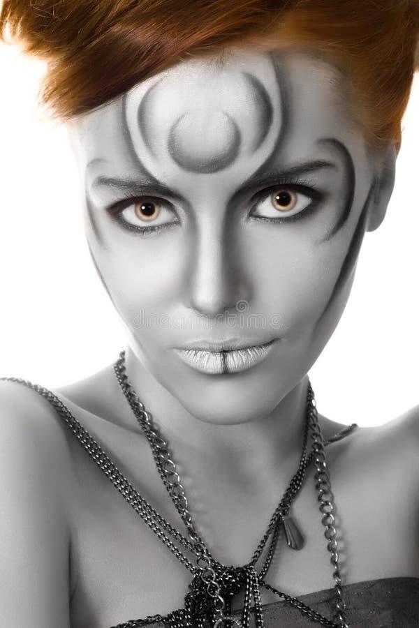 Beautiful woman body art closeup portrait. Isolated stock image