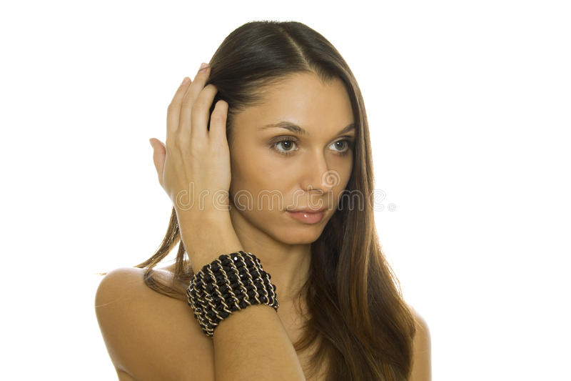 Beautiful woman with a bracelet royalty free stock photos