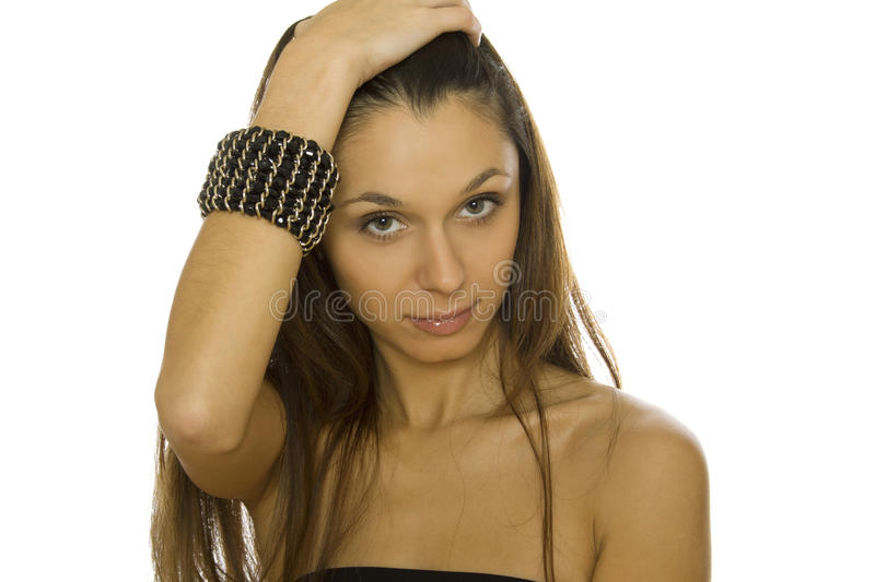 Beautiful woman with a bracelet royalty free stock images