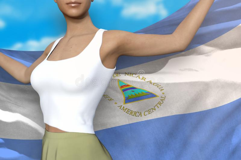 Sexy girl in bright skirt holds Nicaragua flag in hands behind her back on the cloudy sky background - flag concept 3d. Beautiful woman in bright skirt is vector illustration