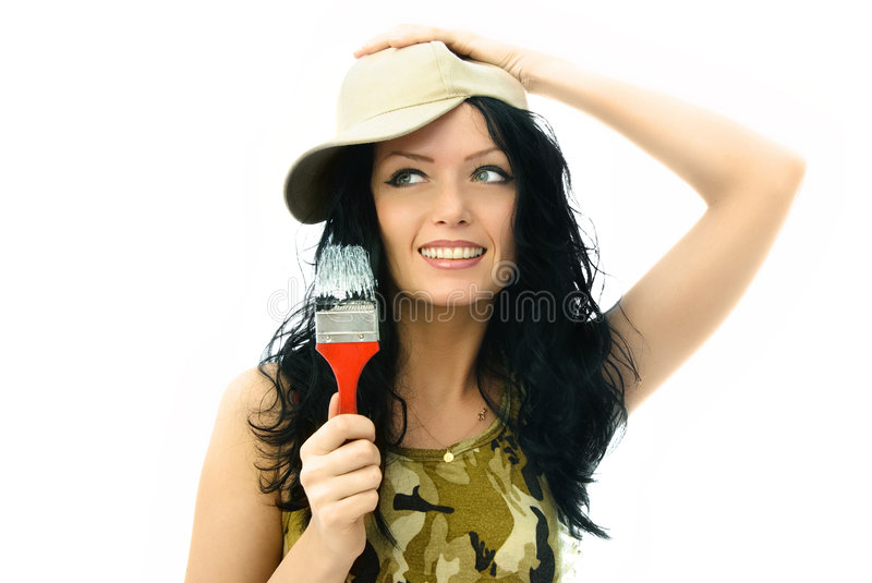 Download Beautiful Woman With A Brush Stock Photo - Image: 7706186