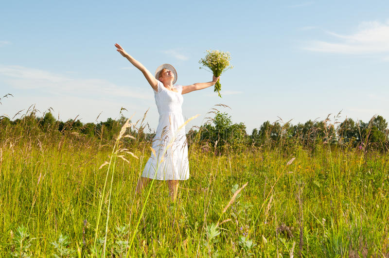Download Beautiful Woman In A Camomile Field Stock Photo - Image: 14861866