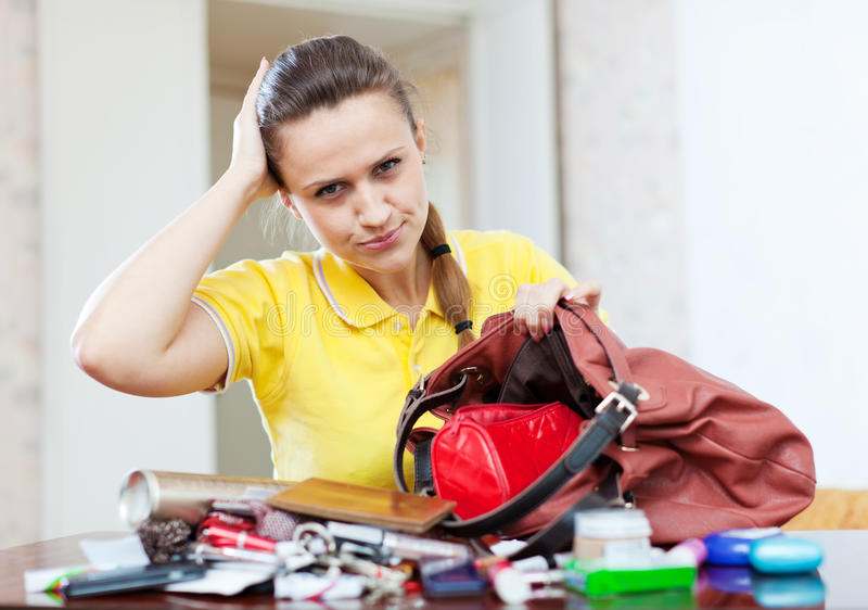 Beautiful woman can not finding anything stock image