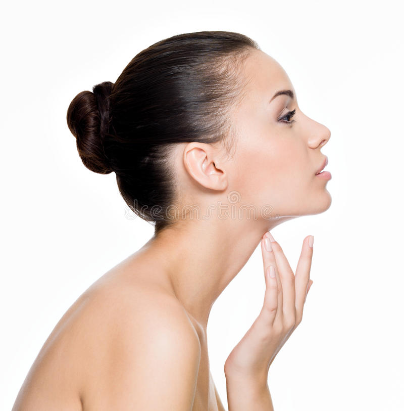 Download Beautiful Woman Cares For The Neck Stock Photo - Image of pamper, pose: 27249238
