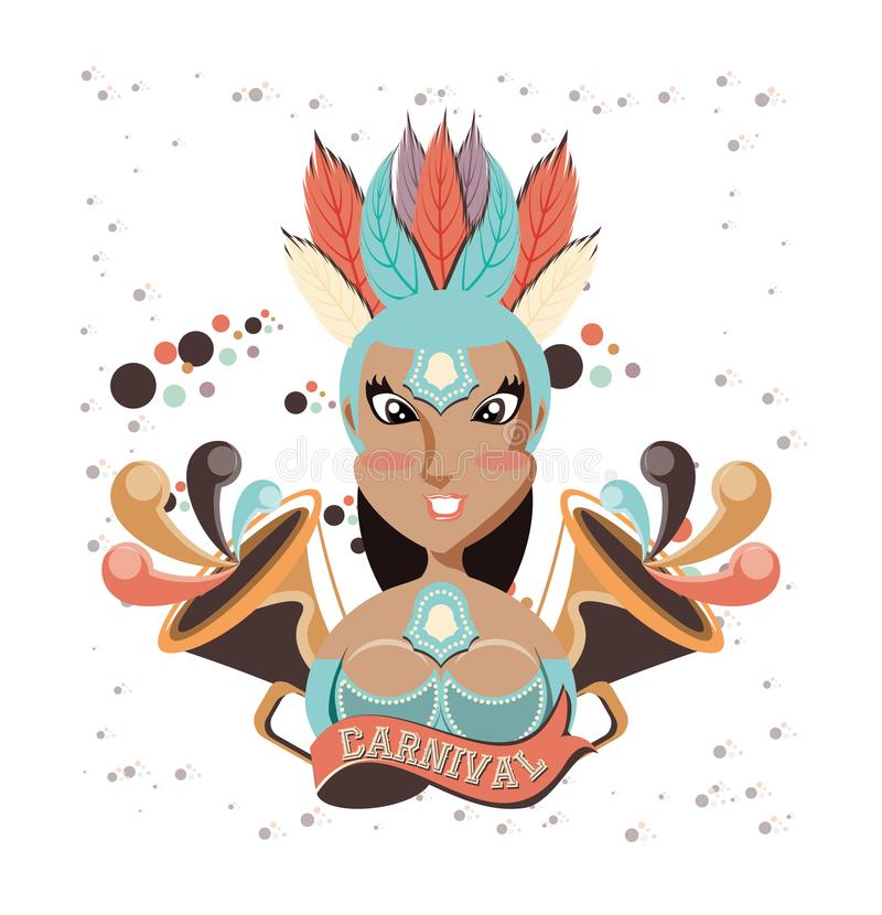 Beautiful woman carnival character royalty free illustration