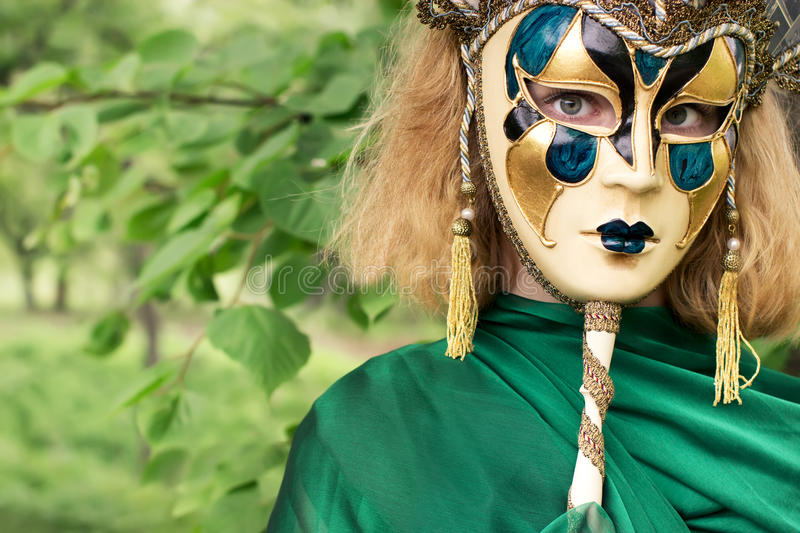 Download Beautiful Woman In Carnival Mask Stock Photo - Image of beautiful, front: 25235276