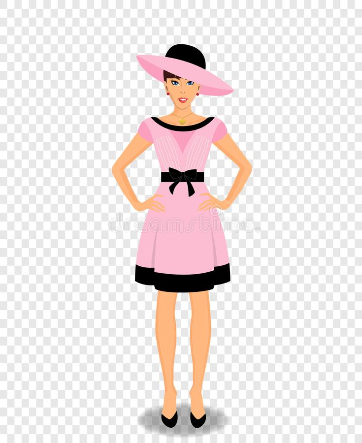 Beautiful woman cartoon character in pink dress and hat royalty free illustration