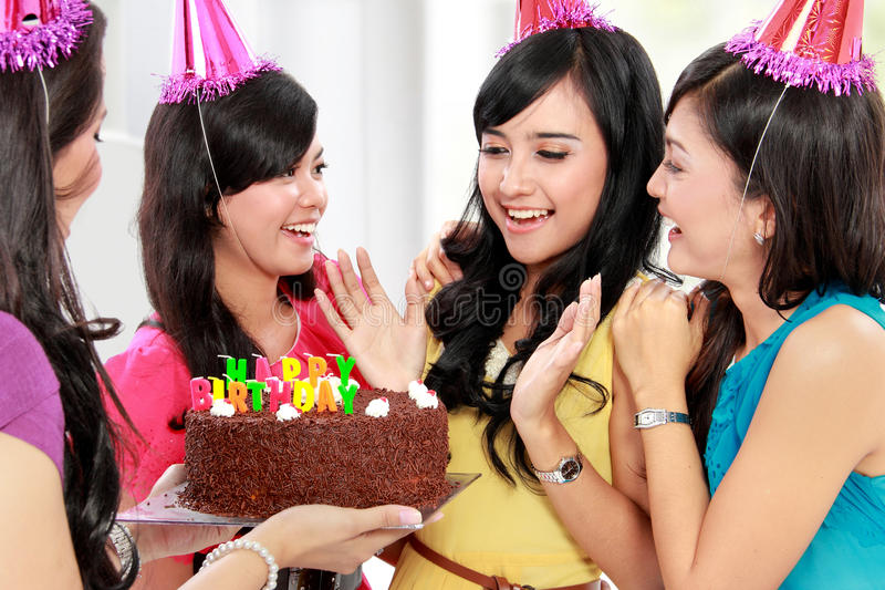 Beautiful woman celebrate birthday royalty free stock photo