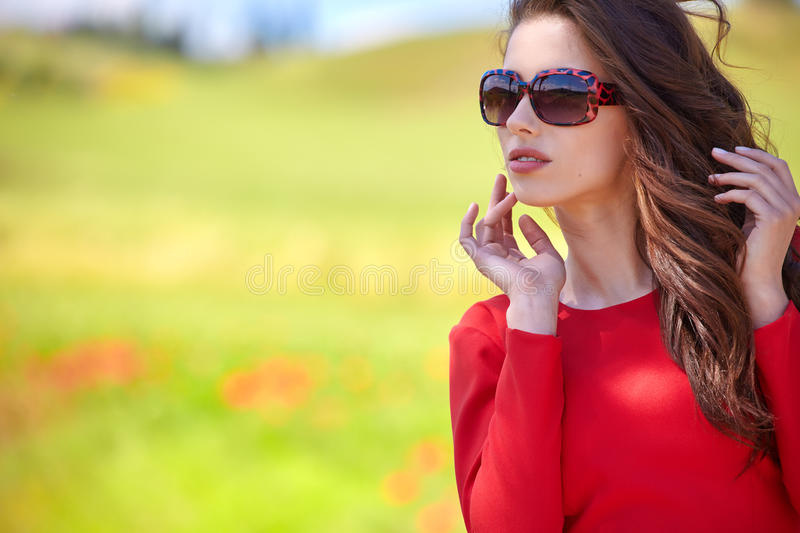 beautiful woman on cereal field in summer stock images