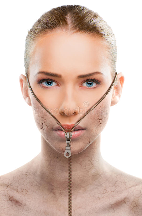 Beautiful woman changing skin, beauty concept royalty free stock photo
