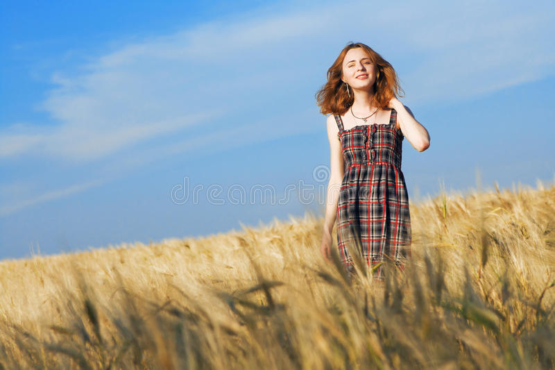 Download Beautiful Woman In Checkered Dress In A Field Stock Photo - Image: 14735410