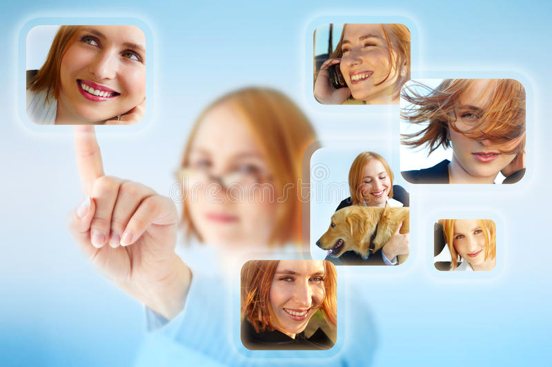 Beautiful woman chooses images. royalty free stock photo
