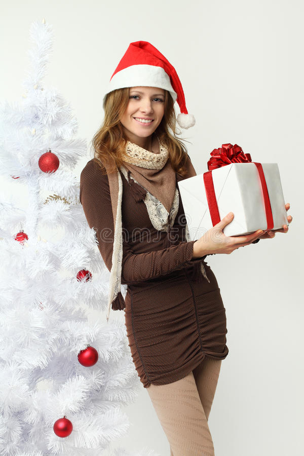 Download Beautiful Woman With Christmas Gift Stock Photo - Image: 22357432