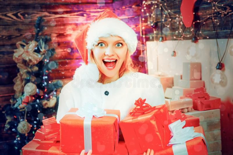 Beautiful woman Christmas. Woman smile Christmas. Christmas decoration. Merry Christmas and Happy New Year. Beautiful woman Christmas. Woman smile Christmas stock photography